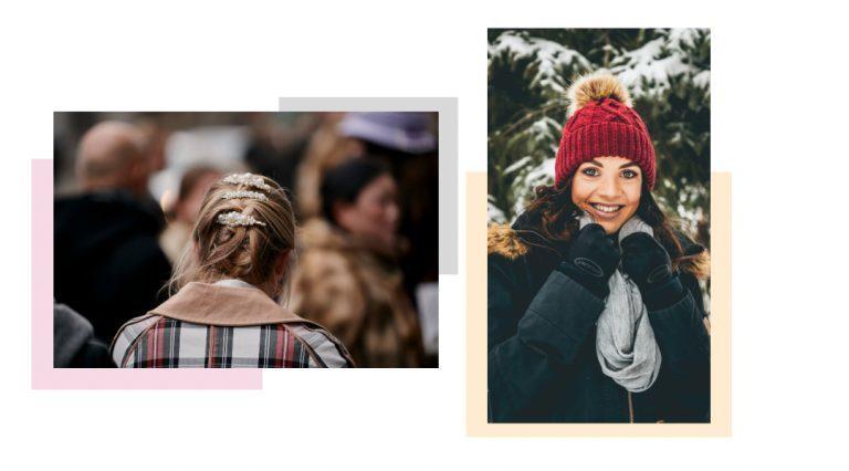 Rafazza di spalle con fermaglio per capelli e ragazza con cappotto, sciarpa e cappello rosso