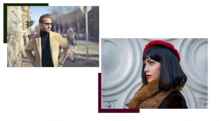 Uomo con giacca beige e donna con baschetto rosso