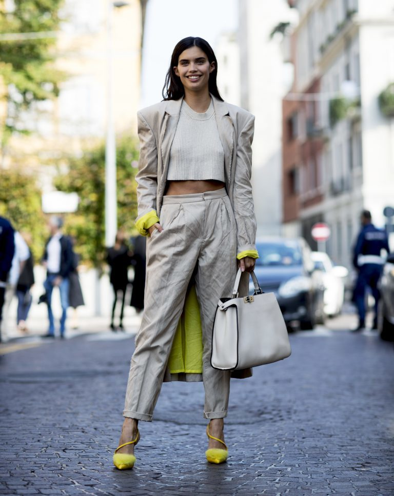 Girl in a full beige outfit