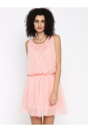 Jealous 21 Women Pink Solid Fit and Flare Dress