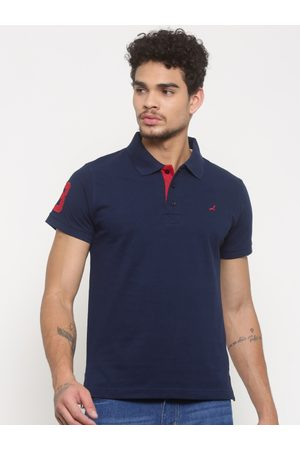 American Crew Men Short Sleeve - Men Navy Solid Polo Collar T-shirt