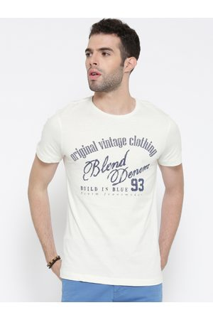 Blend Men Off-White Printed Slim Fit Round Neck T-shirt