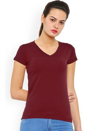 De Moza Women Maroon Solid V-Neck T-shirt