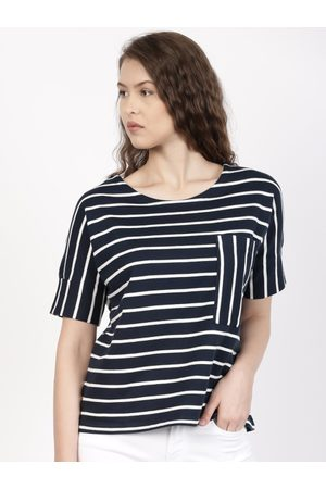 Ether Women Navy & White Striped Round Neck Extended Sleeve Chest Pocket T-shirt