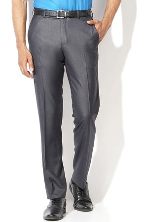 Van Heusen Men Grey Slim Fit Formal Trousers