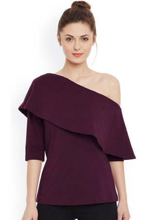 Miss Chase Women Solid One-Shoulder Layered Top