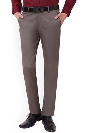 Peter England Men Formal Trousers - Men Grey Solid Formal Trousers