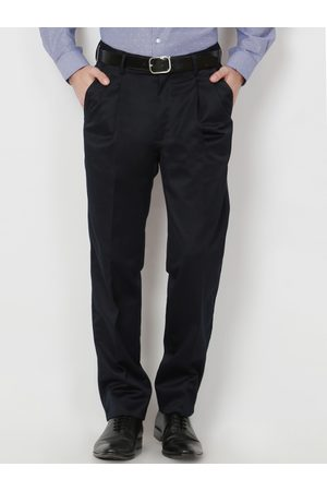 Peter England Men Formal Trousers - Men Navy Blue Solid Formal Trousers