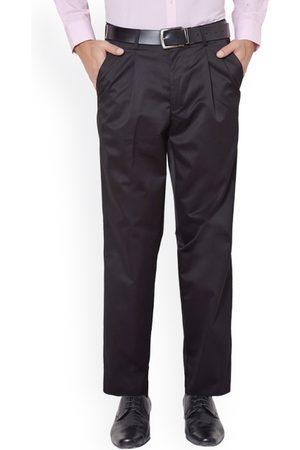 Peter England Men Formal Trousers - Men Black Solid Formal Trousers