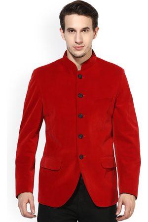 Hangup Men Red Regular Fit Single-Breasted Ethnic Bandhgala Blazer