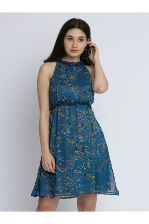 Miss Chase Women Turquoise Blue Printed Fit and Flare Dress