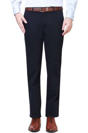 Van Heusen Men Navy Solid Slim Fit Flat Front Trousers