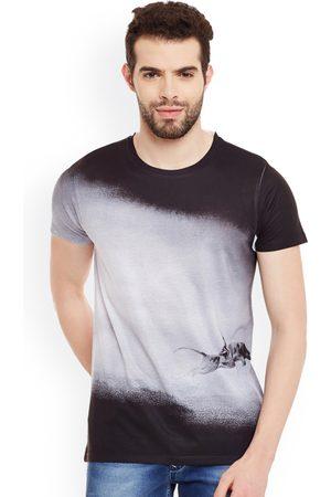 Wear Your Mind Men Grey & Black Printed Round Neck T-shirt