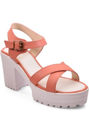 meriggiare Women Peach-Coloured Solid Sandals