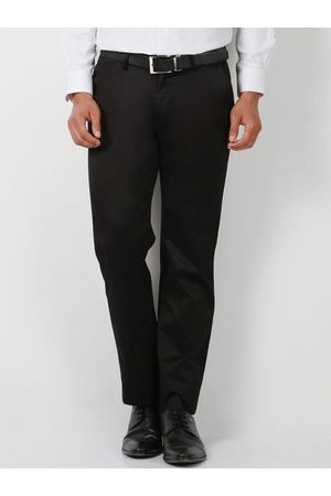 Peter England Men Black Regular Fit Solid Formal Trousers