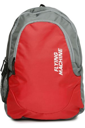 Flying Machine Men Red & Grey Colourblocked Backpack