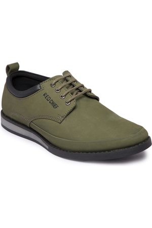 Red Chief Men Olive Green Leather Derbys