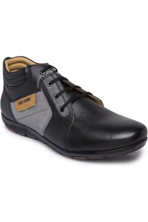 Red Chief Men Black Solid Leather Mid-Top Derbys