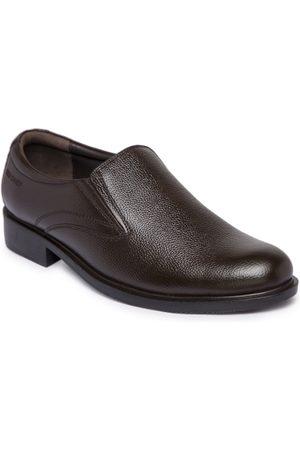 Red Chief Men Brown Genuine Leather Formal Slip-Ons