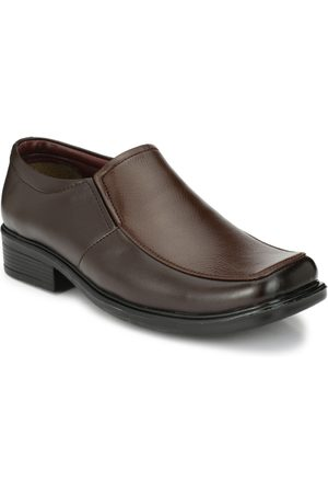 Azzaro Men Brown Solid Synthetic Leather Loafers