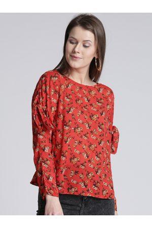 Splash Women Tops - Women Orange Floral Print Top