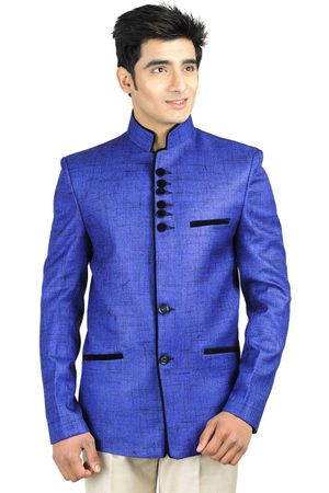 Wintage Men Blue Single-Breasted Tailored Fit Ethnic Bandhgala Blazer Blazer