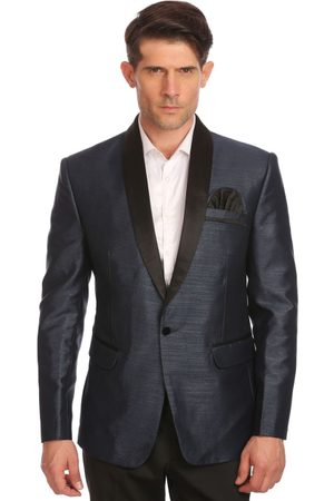 Wintage Men Charcoal Grey Single-Breasted Tailored Fit Party Tuxedo