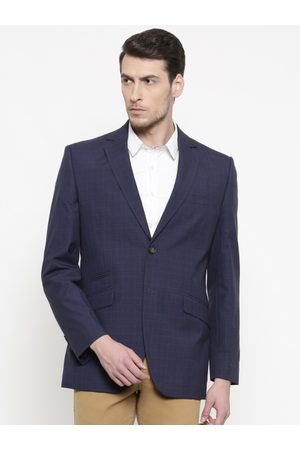 ColorPlus Men Navy Checked Single-Breasted Tailored Fit Formal Blazer