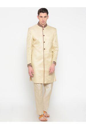 Peter England Men Cream-Coloured Self-Design Sherwani