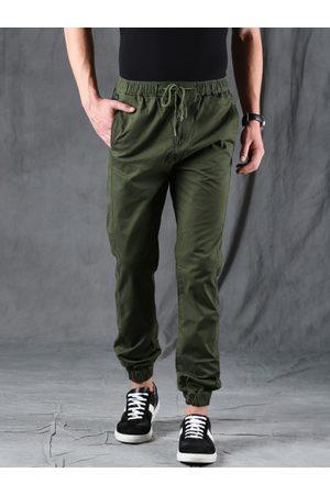 WROGN Men Olive Green Regular Fit Solid Joggers