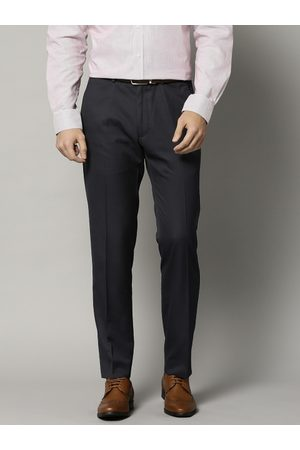 Marks & Spencer Men Navy Slim Fit Solid Formal Trousers