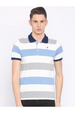American Crew Men White & Blue Striped Polo Collar T-shirt