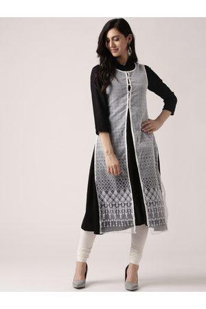 IMARA Women Black & White Solid Layered A-Line Kurta