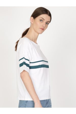 Ether Women White & Blue Striped Dropped Shoulder Round Neck T-shirt