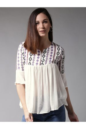 HERE&NOW Women White Printed Empire Top