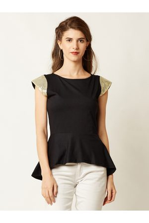 Miss Chase Women Black Solid Peplum Top