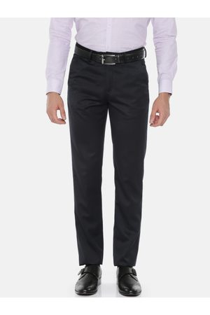Peter England Elite Men Black Slim Fit Solid Formal Trousers
