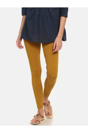 GO COLORS Women Mustard Yellow Solid Ankle-Length Leggings