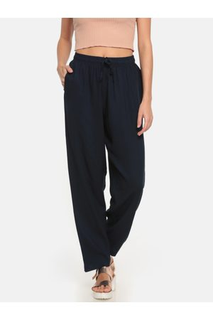 GO COLORS Women Navy Blue Solid Relaxed Fit Casual Trousers