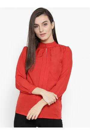 U&F Women Red Solid Regular Top