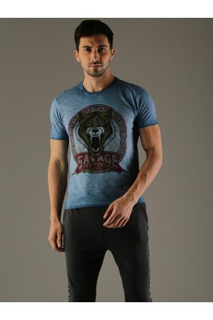 Flying Machine Men Blue Printed Round Neck T-shirt