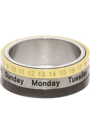 Moxie Men Gold-Toned & Black Revolving Calender Style 316L Stainless Steel Stainless Steel Ring