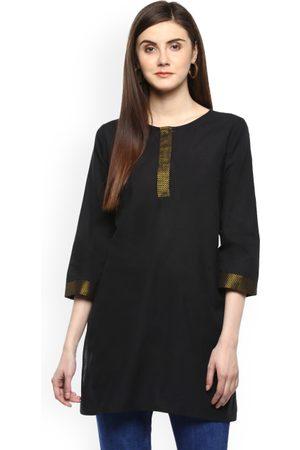 Bhama Couture Women Black Solid Mangalgiri Cotton Kurti