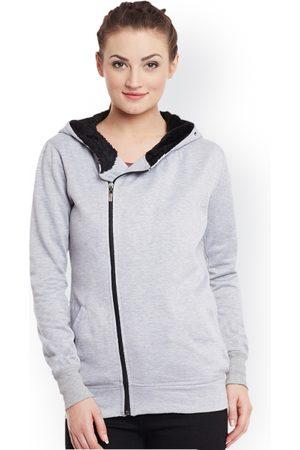 Belle Women Grey Melange Solid Hooded Bomber Jacket