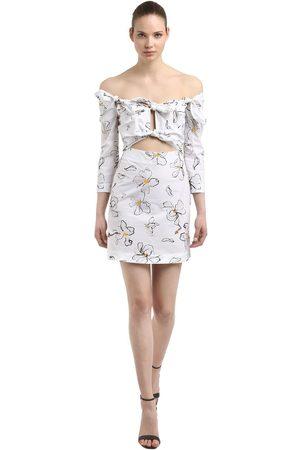 ISA ARFEN Floral Printed Cotton Mini Dress