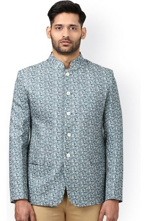 Ethnix by Raymond Men Blue Khadi Cotton Self-Design Slim Fit Ethnic Bandhgala Blazer