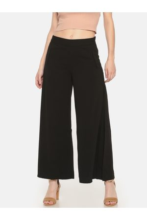 Cherokee Women Black Slim Fit Solid Regular Trousers