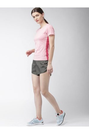 Mast & Harbour Women Charcoal Grey Solid Regular Fit Sports Shorts