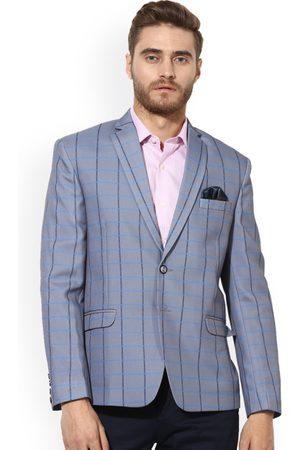 Hangup Men Grey, Blue & Black Self-Design Single-Breasted Slim Fit Casual Blazer