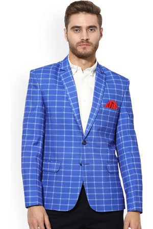 Hangup Men Blue & White Checked Single-Breasted Slim Fit Casual Blazer